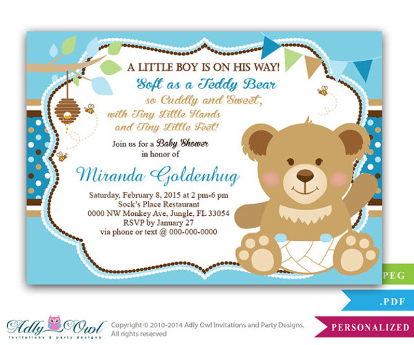 Boy Teddy Bear Baby Shower Invitation card bee and bear soft bear