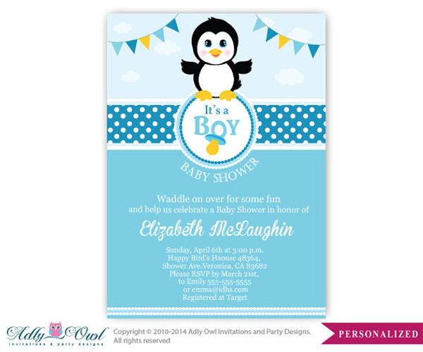 Wonderful Boy Penguin Baby Shower Invitation, Penguin Party Card For A Baby Shower .Arctic,