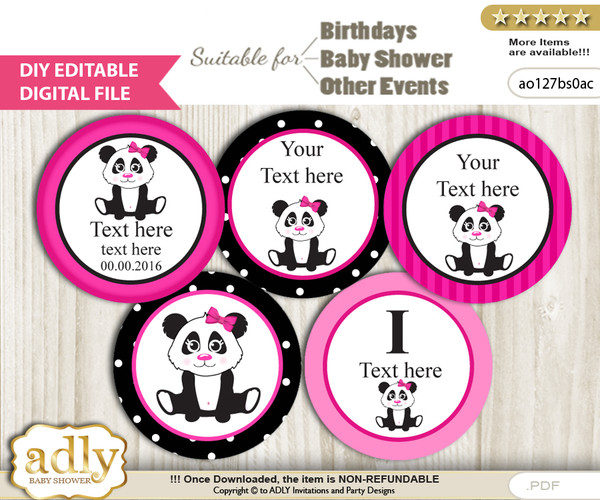 Text Editable Girl Panda Cupcake Toppers Digital File, DIY print at home, suitable for birthday, baby shower, baptism