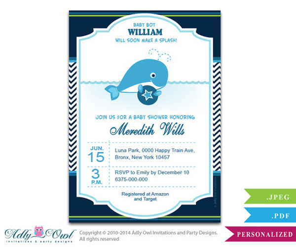 Boy Whale Invitation for Baby Shower Squirt Boy Printable Card
