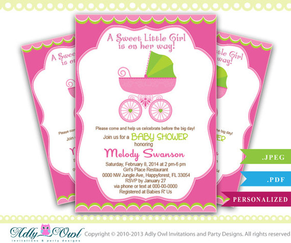Girl Carriage Baby Shower Invitation Printable Girl Carriage Baby