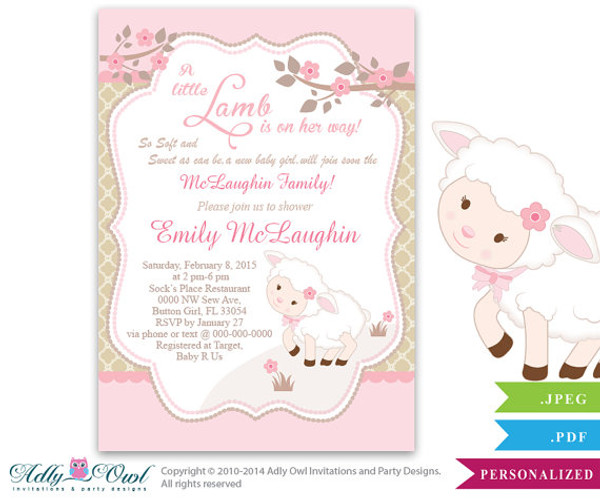 Little Lamb Girl Baby Shower Invitation for a New Baby Girl