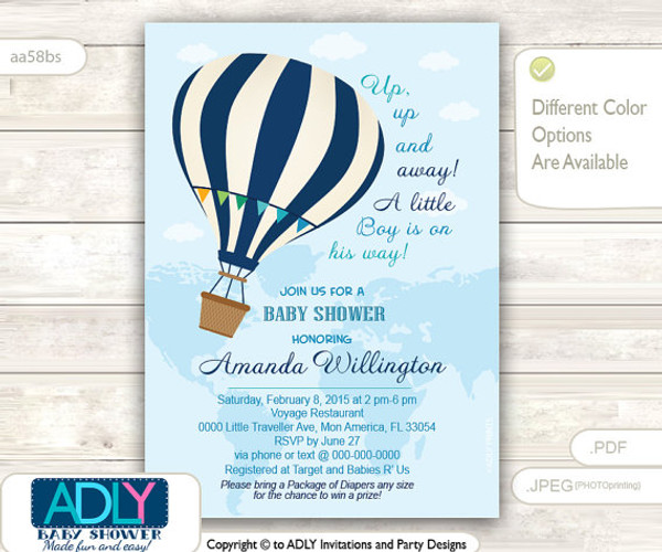 Blue Hot Air Balloon Baby Shower Invitation,Oh The Places Youu0027ll Go |