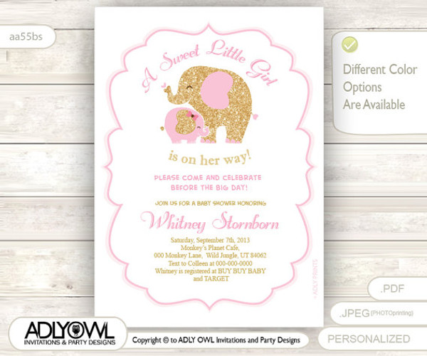 White pink gold elephant baby shower invitation card a sweet little white pink gold elephant baby shower invitation card a sweet little girl is on her filmwisefo
