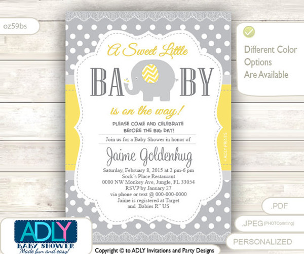 Gender Neutral Elephant Invitation for Yellow Grey Polka, Chevron Baby Shower. A sweet Little Baby is on the way, cute elephant