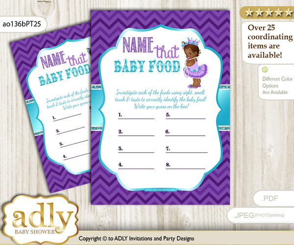 African Princess Guess Baby Food Game or Name That Baby Food Game for a Baby Shower, Purple Teal Chevron