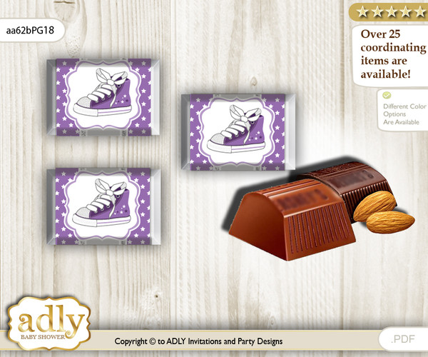 Girl Sneakers Chocolate Nuggets Candy Wrapper Label for Baby Girl Shower  Purple Grey , Sport