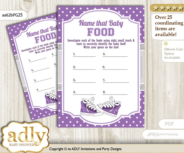 Girl Sneakers Guess Baby Food Game or Name That Baby Food Game for a Baby Shower, Purple Grey Sport