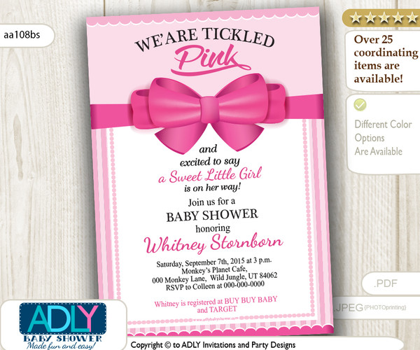 Hot Pink Bow Girl Baby Shower Invitation, fuscia pink digital card