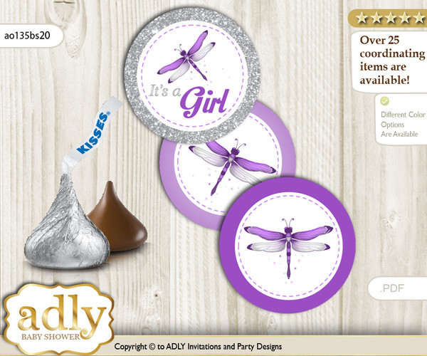 Printable  Girl Dragonfly Candy Kisses for Baby Girl Shower DIY Purple Grey , Bokeh