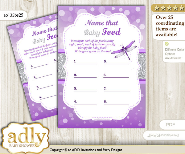 Girl Dragonfly Guess Baby Food Game or Name That Baby Food Game for a Baby Shower, Purple Grey Bokeh