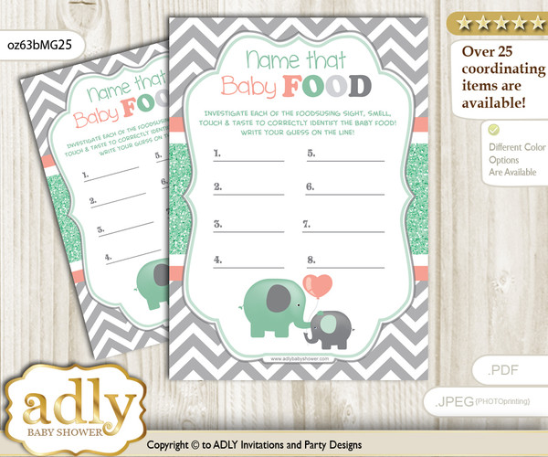 Unisex Elephant Guess Baby Food Game or Name That Baby Food Game for a Baby Shower, Peach Mint Chevron