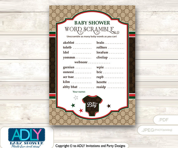Gucci Boy Fashion Word Scramble Game, Guess Words, Unscramble the words Game  Fashion  Shower DIY Brown Red Gucci- oz23bs45