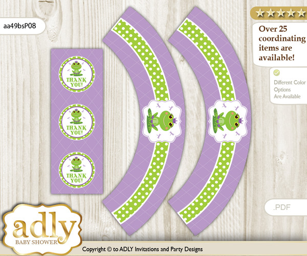 Printable Girl Frog Cupcake, Muffins Wrappers plus Thank You tags for Baby Shower Green Purple, Polka
