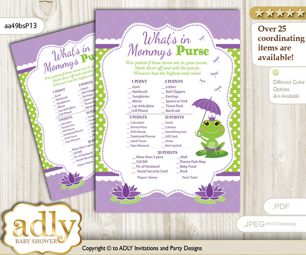 Girl Frog What is in Mommy's Purse, Baby Shower Purse Game Printable Card , Green Purple,  Polka