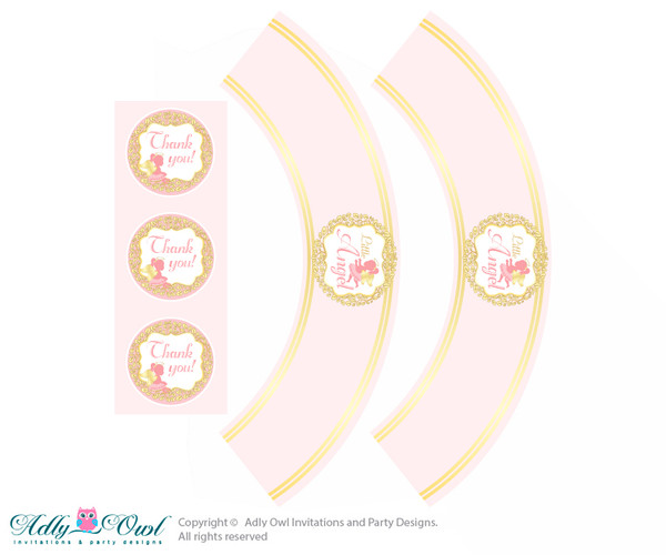 Printable Little Angel Cupcake, Muffins Wrappers plus Thank You tags for Baby Shower Gold, Pink