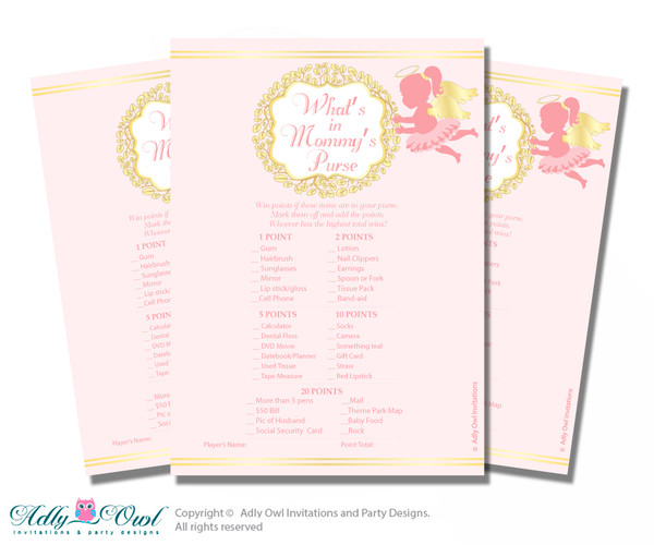 Little Angel What is in Mommy's Purse, Baby Shower Purse Game Printable Card , Gold, Pink