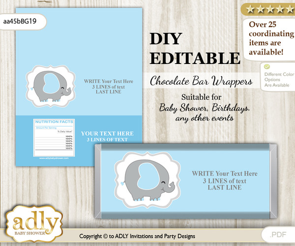 DIY Personalizable Peanut Elephant Chocolate Bar Candy Wrapper Label for Peanut  baby shower, birthday Blue Grey , editable wrappers