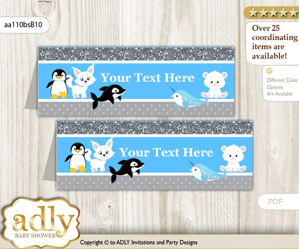 DIY Text Editable Printable Boy Arctic Buffet Tags or Food Tent Labels  for a Baby Shower or Birthday , Blue Silver, Winter