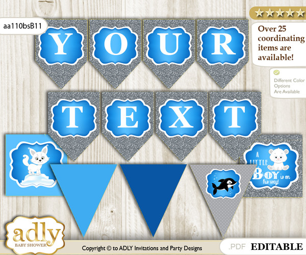 DIY Personalizable Boy Arctic Printable Banner for Baby Shower, Blue Silver, Winter