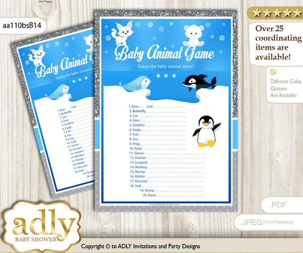 Printable Boy Arctic Baby Animal Game, Guess Names of Baby Animals Printable for Baby Arctic Shower, Blue Silver, Winter