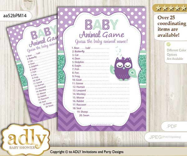 Printable Girl Owl  Baby Animal Game, Guess Names of Baby Animals Printable for Baby Owl  Shower, Purple Green, Mint