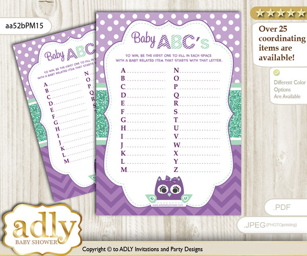 Girl Owl  Baby ABC's Game, guess Animals Printable Card for Baby Owl  Shower DIY – Mint