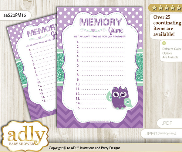 Girl Owl  Memory Game Card for Baby Shower, Printable Guess Card, Purple Green, Mint