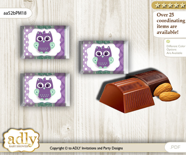 Girl Owl  Chocolate Nuggets Candy Wrapper Label for Baby Girl Shower  Purple Green , Mint