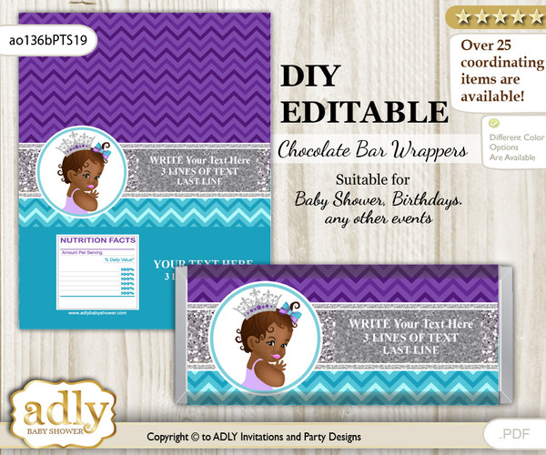 DIY Personalizable African Princess Chocolate Bar Candy Wrapper Label for African  baby shower, birthday Purple Teal , editable wrappers n