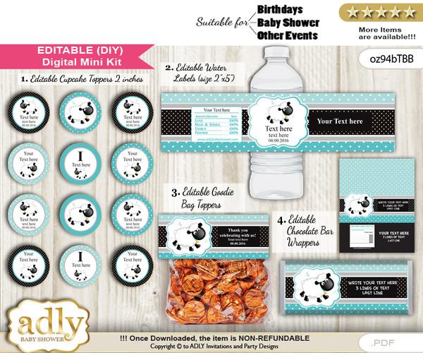DIY Text Editable Boy Lamb Baby Shower, Birthday digital package, kit-cupcake, goodie bag toppers, water labels, chocolate bar wrappers n