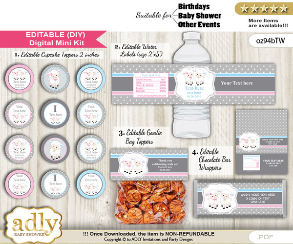 DIY Text Editable Twins Lamb Baby Shower, Birthday digital package, kit-cupcake, goodie bag toppers, water labels, chocolate bar wrappers j