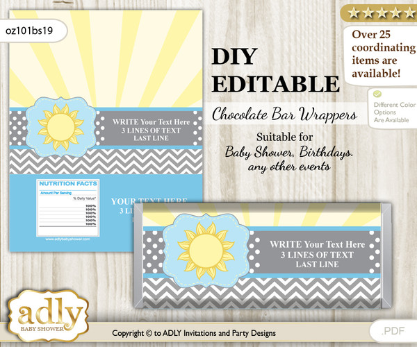 DIY Personalizable Boy Sunshine Chocolate Bar Candy Wrapper Label for Boy  baby shower, birthday blue grey , editable wrappers