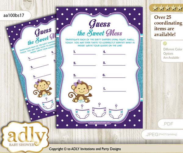 Girl Monkey Dirty Diaper Game or Guess Sweet Mess Game for a Baby Shower Purple Teal, Polka