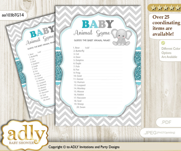 Printable Peanut Unisex Baby Animal Game, Guess Names of Baby Animals Printable for Baby Unisex Shower, Teal Gray, Chevron