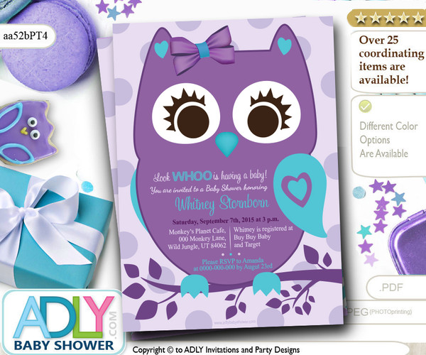 Super Cute Purple Turquoise Owl Baby Shower Invitation