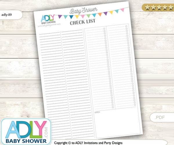 Free Baby Shower Check list