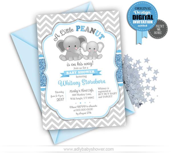 Baby Blue Gray Chevron Peanut Invitation for Baby Shower