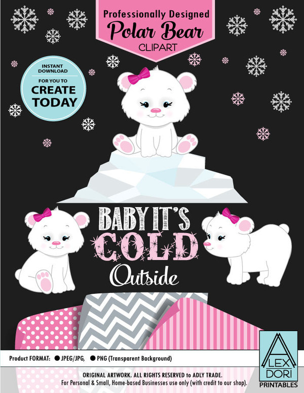 Winter Wonderland Baby Pink Polar Bear Set Clipart