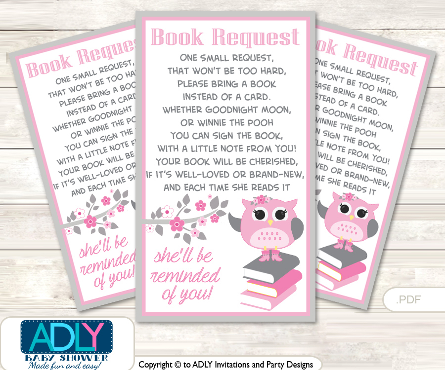 Request A Book Instead Of A Card For Spring Owl Baby Shower Or Birthday,  Printable