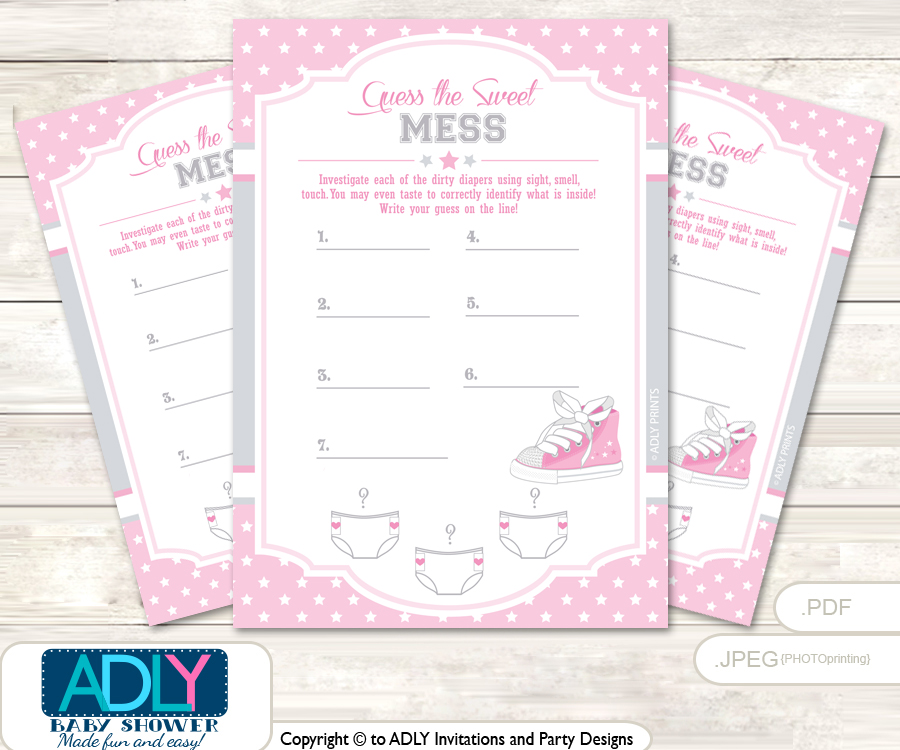 Perfect Girl Sneakers Dirty Diaper Game Or Guess Sweet Mess Game For A Baby Shower  Pink,