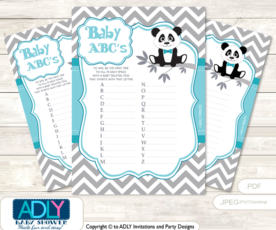 Boy Panda Baby ABC\'s Game, guess Animals Printable Card for Baby ...