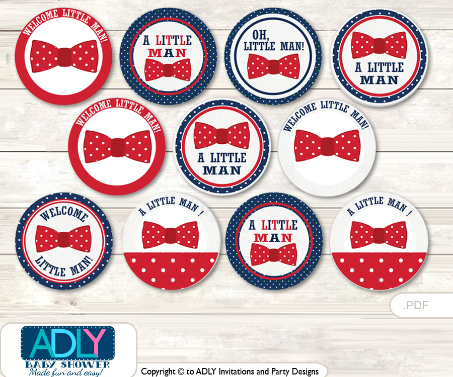 Baby Shower Man Bow Tie Cupcake Toppers Printable File for Little ...