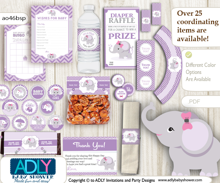 Purple Lilac Elephant Baby Girl Shower Printable Party Kit with girl