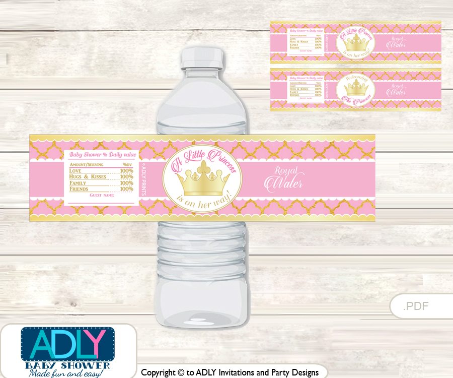 Pink Princess Water Bottle Wrappers, Labels for a Princess Baby ...