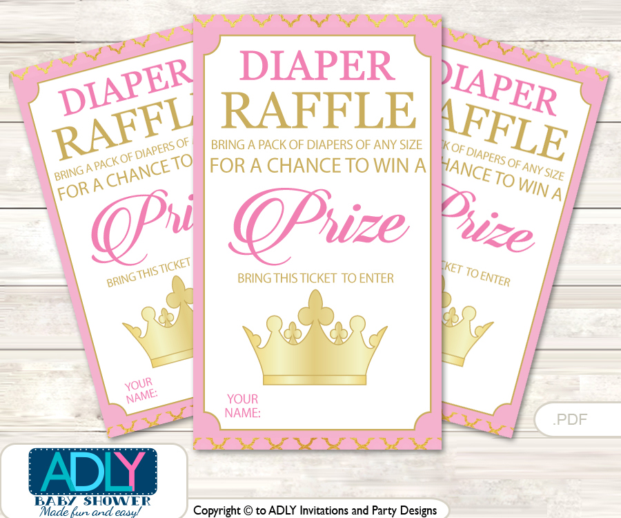 Pink Princess Diaper Raffle Printable Tickets for Baby Shower ...