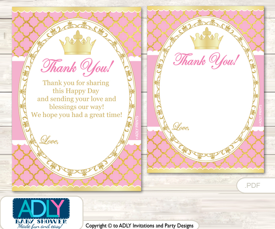 Pink Princess Thank you Cards for a Baby Pink Shower or Birthday DIY ...