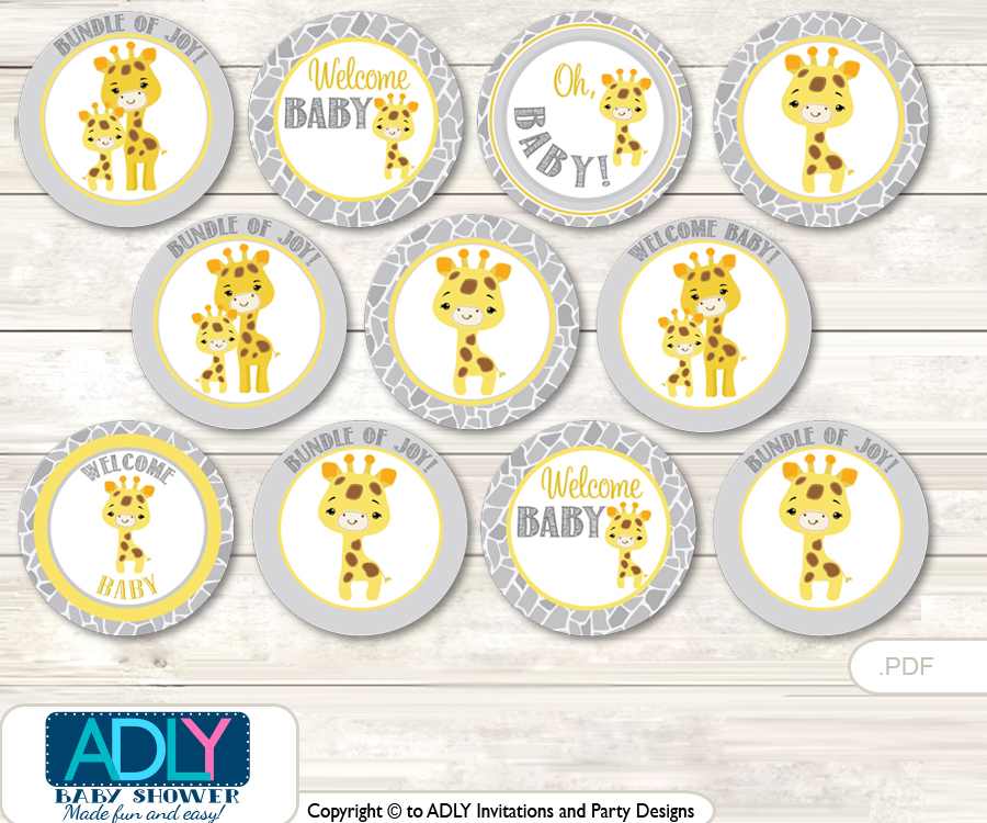 Baby Shower Neutral Giraffe Cupcake Toppers Printable File For