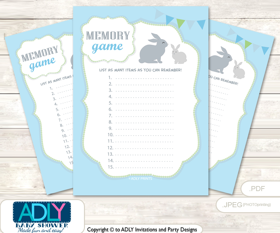 boy bunny memory game card for baby shower printable guess card