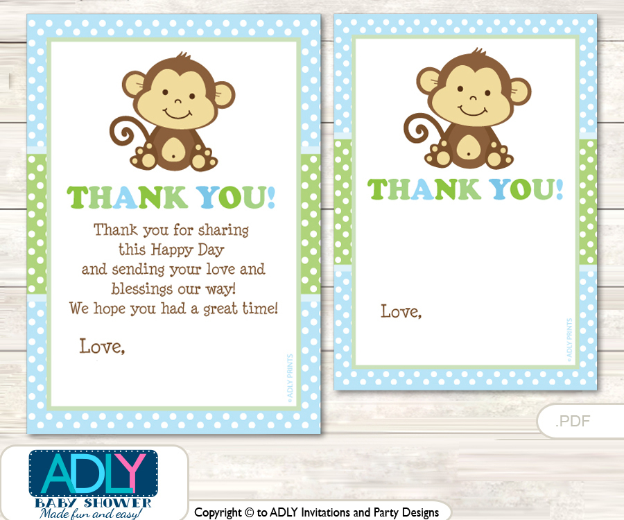 Boy Monkey Thank You Cards For A Baby Boy Shower Or Birthday DIY Green,  Polka
